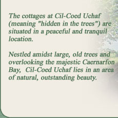 "The Cottages at Cil-Coed Uchaf (meaning ""hidden in the trees"") are situated in a peaceful and tranquil location. Nestled amidst large, old trees and overlooking the majestic Caernarfon Bay, Cil-Coed Uchaf lies in an area of natural, outstanding beauty."